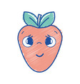 kawaii nice shy strawberry icon vector image vector image