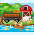 kids and farm animals on the farm vector image vector image