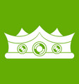 king crown icon green vector image vector image