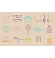 kitchenware line icons vector image vector image