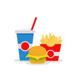 lunch with french fries hamburger and soda vector image vector image