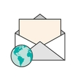 message envelope and earth globe icon vector image