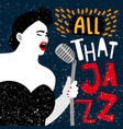 music banner with female singer all that jazz vector image vector image