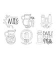 natural milk hand drawn retro labels set daily vector image vector image