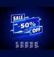 neon banner sale off set collection color blue vector image