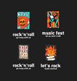 rock music festival logo set vector image vector image