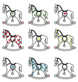 Rocking horse icons set vector image vector image