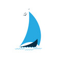 sailboat in the sea logo for the tourist company vector image vector image