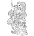 Santa Claus coloring for adults vector image vector image