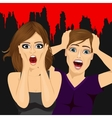 scared couple screaming vector image vector image