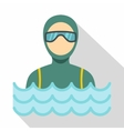 Scuba diver man in diving suit icon flat style vector image vector image