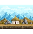 Seamless background of the hut in mountains vector image
