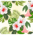 seamless texture tropical flowers hibiscus vector image vector image