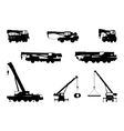 Set Crane Silhouette on a white background vector image
