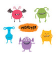 set cute different cartoon monsters elements vector image vector image