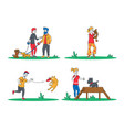 set people spend time with pets outdoors vector image vector image