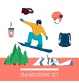 set snowboarding clothes and elements vector image vector image