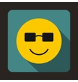 Smiling emoticon in sunglasses icon flat style vector image
