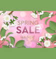 spring sale poster with blooming cherry design vector image