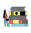 student woman and stack books vector image vector image