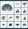 summer icons set with crab paraplane sand castle vector image vector image