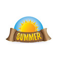 summer label with orange sun vector image vector image