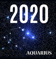 symbol aquarius zodiac sign with new year and vector image