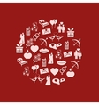 valentine icons in circle vector image vector image