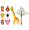 Various Animals and Tree vector image vector image