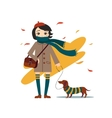 Young Pretty Girl Walking With Dog vector image