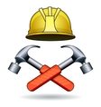 working tools two hammers and helmet vector image