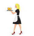 waitress carrying a beer glasses vector image