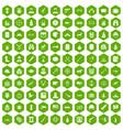 100 bullet icons hexagon green vector image vector image