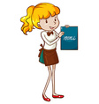 A simple sketch of a waitress holding a menu vector image vector image
