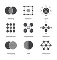 abstract symbols glyph icons set vector image vector image