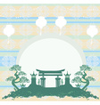 Asian buildings - Chinese New Year card vector image