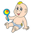 baby with rattle vector image