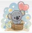 birthday card with a cute koala and balloon vector image vector image