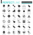 Black classic sport equipment icons set for web vector image