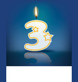Candle number 3 with flame vector image