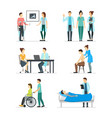 cartoon doctors and patients characters icon set vector image vector image