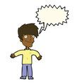 cartoon happy man with speech bubble vector image vector image