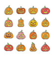 carving face halloween pumpkin icon set vector image vector image