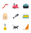 cat things icons set cartoon style vector image vector image