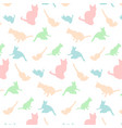 cats silhouette pattern colorful background vector image