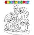 coloring book penguins and tree vector image vector image