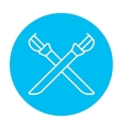 Crossed saber line icon vector image