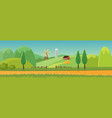 cute rural landscape panorama with farm cartoon vector image vector image