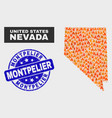 flame mosaic nevada state map and scratched vector image vector image