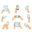 Flat set of human hands with mobile phones
